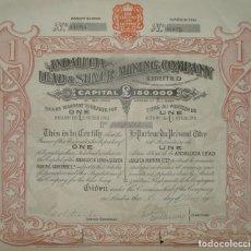 Coleccionismo Acciones Españolas: ANDALUCIA LEAD & SILVER MINING COMPANY LTD- MINAS DE PLOMO Y PLATA DE ANDALUCÍA, LINARES - JAÉN 1905. Lote 172401102