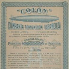 Collezionismo Azioni Spagnole: COLÓN COMPAÑÍA TRANSAÉREA ESPAÑOLA, VITORIA (1928) - AVIACIÓN / DIRIGIBLES / ZEPPELIN. Lote 172401183