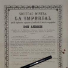 Coleccionismo Acciones Españolas: SOCIEDAD MINERA LA IMPERIAL MURCIA SANGONERA EL PALMAR 1881. Lote 172935567