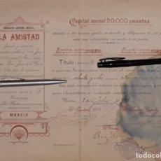 Coleccionismo Acciones Españolas: SOCIEDAD ANONIMA MINERA LA AMISTAD LA UNIÓN CARTAGENA MURCIA 1897. Lote 172958392