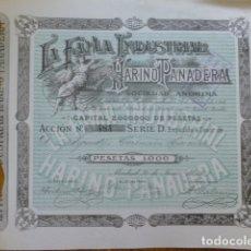 Coleccionismo Acciones Españolas: LA FAMA INDUSTRIAL HARINO PANADERA ACCION 1000 PESETAS 1919 MADRID. Lote 172960960