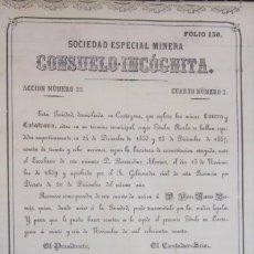 Coleccionismo Acciones Españolas: MINERA CONSUELO INCOGNITA 1860. Lote 172987355