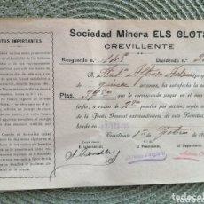 Coleccionismo Acciones Españolas: CREVILLENTE SOCIEDAD MINERA ELS CLOTS AÑO 1922. Lote 173158167