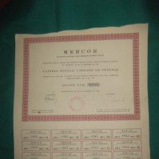 Coleccionismo Acciones Españolas: ACCION MERCOR SOCIEDAD ANONIMA DE COMERCIO INTERNACIONAL CON CUPONES. BARCELONA 29 DICIEMBRE 1948. Lote 173196740