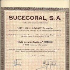 Coleccionismo Acciones Españolas: SUCECORAL, S. A.. Lote 173559300