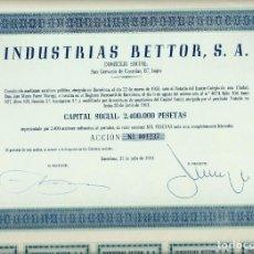 Coleccionismo Acciones Españolas: INDUSTRIAS BETTOR, S. A.. Lote 173560067