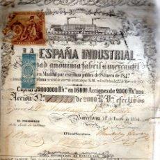 Coleccionismo Acciones Españolas: ACCION LA ESPAÑA INDUSTRIALDE 1854 DE 2000 REALES DE VELLON. Lote 173672870