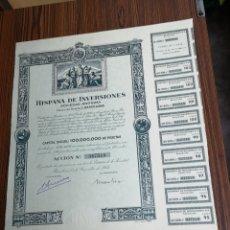 Coleccionismo Acciones Españolas: 0165. ACCIÓN DE HISPANA DE INVERSORES. BARCELONA 15 DE DICIEMBRE DE 1953. Lote 173914238