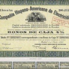 Coleccionismo Acciones Españolas: COMPAÑIA HISPANO - AMERICANA DE ELECTRICIDAD. Lote 174154408