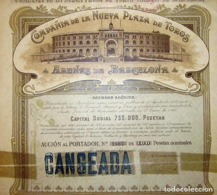 PLAZA DE TOROS LAS ARENAS 1900 (Coleccionismo - Acciones Españolas)