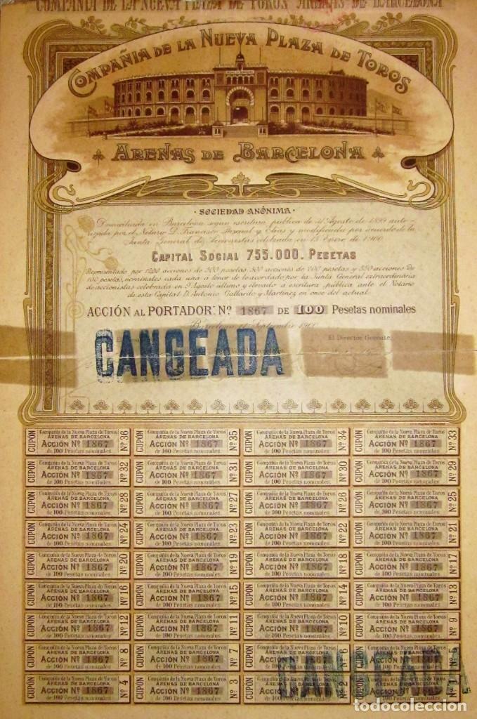 Coleccionismo Acciones Españolas: PLAZA DE TOROS LAS ARENAS 1900 - Foto 2 - 175126562