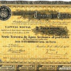 Coleccionismo Acciones Españolas: COMPAÑIA GENERAL DE ALUMBRADO POR ACETILENO. Lote 175264938