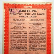 Coleccionismo Acciones Españolas: BARCELONA TRACTION LIGHT AND POWER COMPANY LIMITED (1927). Lote 175289112