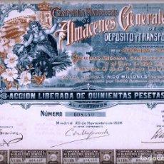 Collectionnisme Actions Espagne: COMPAÑÍA MADRILEÑA DE ALMACENES GENERALES DE DEPÓSITO Y TRANSPORTES. Lote 239478570