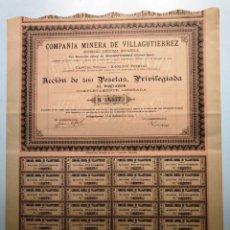 Coleccionismo Acciones Españolas: COMPAÑIA MINERA DE VILLAGUTIERREZ. Lote 175296572