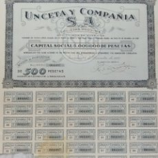 Coleccionismo Acciones Españolas: ACCIÓN, UNCETA Y COMPAÑIA, GUERNICA, 1942. Lote 175323793