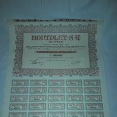 Coleccionismo Acciones Españolas: 10 TÍTULOS DE ACCIONES AL PORTADOR MONTPLET S.A, M.O.N.T.S.A. 500 PESETAS AÑO 1941. Lote 175695888