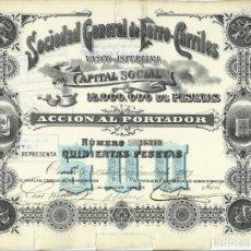 Coleccionismo Acciones Españolas: SOCIEDAD GENERAL DE FERRO-CARRILES VASCO ASTURIANA. Lote 175756332