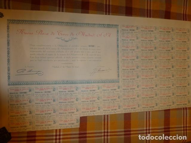 ACCION NUEVA PLAZA DE TOROS DE MADRID 1942 (Coleccionismo - Acciones Españolas)