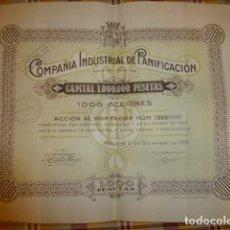 Coleccionismo Acciones Españolas: COMPAÑIA INDUSTRIAL DE PANIFICACION ACCION 1000 PESETAS 1935 MADRID ESCUDO REPUBLICA . Lote 175864480