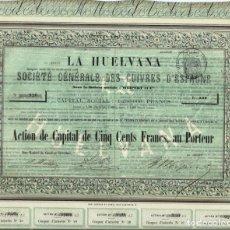 Coleccionismo Acciones Españolas: LA HUELVANA SOCIÉTÉ GÉNERALE DES CUIVRES D'ESPAGNE. Lote 175867183