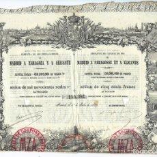 Coleccionismo Acciones Españolas: COMPAÑIA DE LOS FERRO-CARRILES DE MADRID A ZARAGOZA Y A ALICANTE. Lote 175870262