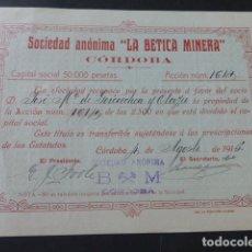 Coleccionismo Acciones Españolas: ACCION LA BETICA MINERA CORDOBA 1915. Lote 175977367