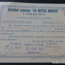 Coleccionismo Acciones Españolas: ACCION LA BETICA MINERA CORDOBA 1916. Lote 175977463