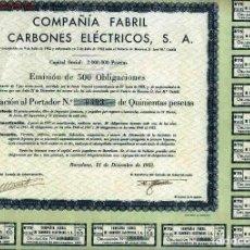 Coleccionismo Acciones Españolas: COMPAÑÍA FABRIL DE CARBONES ELÉCTRICOS, S. A.. Lote 176019620