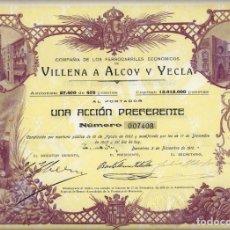 Coleccionismo Acciones Españolas: COMPAÑIA DE LOS FERROCARRILES ECONÓMICOS VILLENA A ALCOY Y YECLA. Lote 176129107