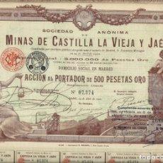 Collectionnisme Actions Espagne: MINAS DE CASTILLA LA VIEJA Y JAÉN. Lote 176131429