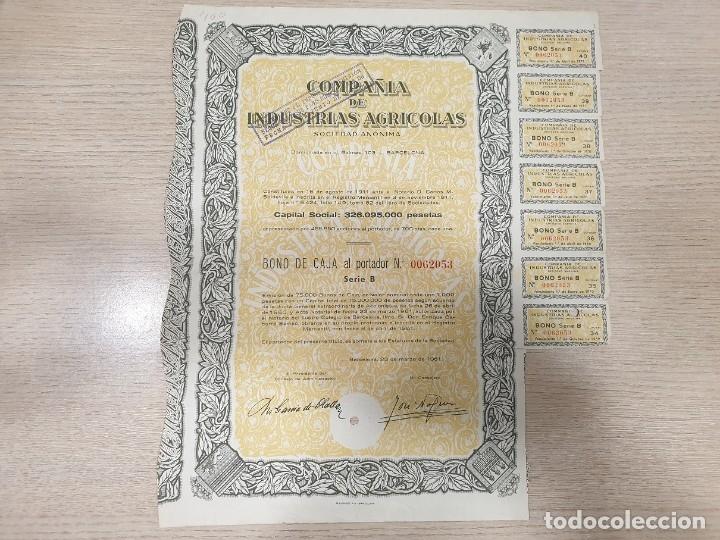 ACCIONES - COMPAÑÍA DE INDUSTRIAS AGRICOLAS, S.A. - 1961 (Coleccionismo - Acciones Españolas)