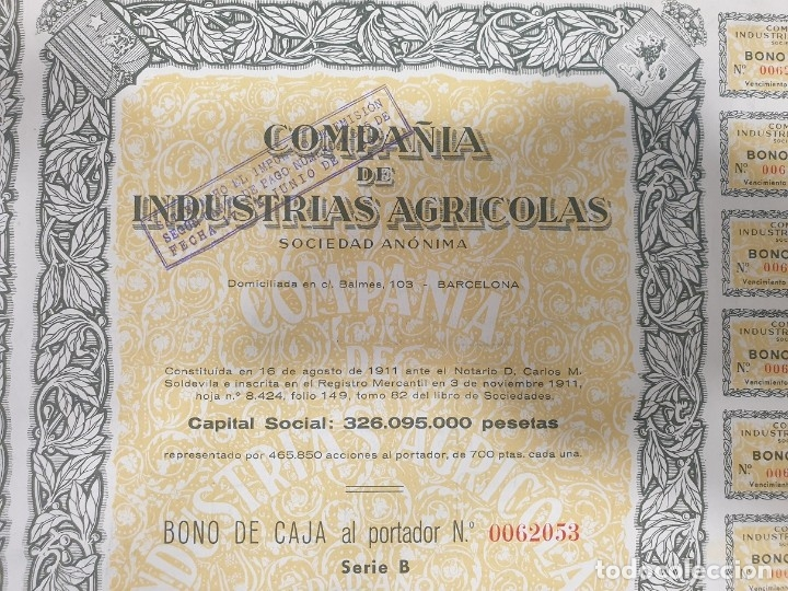 Coleccionismo Acciones Españolas: ACCIONES - COMPAÑÍA DE INDUSTRIAS AGRICOLAS, S.A. - 1961 - Foto 2 - 176159828