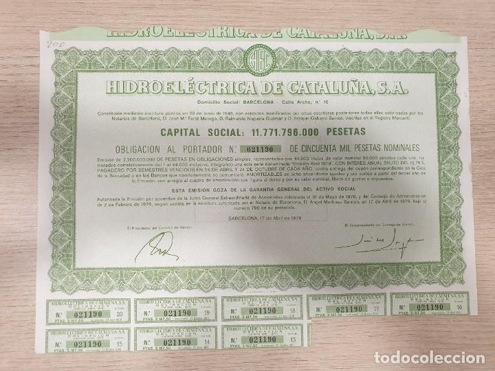 ACCIONES - HIDROELÉCTRICA DE CATALUÑA, S.A. - 1979 (Coleccionismo - Acciones Españolas)