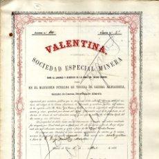 Coleccionismo Acciones Españolas: ALMERIA CUEVAS BARRANCO PINALVO SOCIEDAD ESP MINERA VALENTINA 1866. Lote 176185023