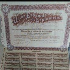 Coleccionismo Acciones Españolas: TÍTULOS FÍSICOS: OBLIGACIONES ORIGINALES 1955 UNIÓN DE EXPLOSIVOS S.A.. Lote 176409199