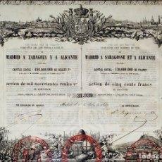 Coleccionismo Acciones Españolas: ACCIÓN COMPAÑIA FERRO-CARRILES. MIL NOVECIENTOS REALES. GRABADO. ESPAÑA. XIX. Lote 176557214