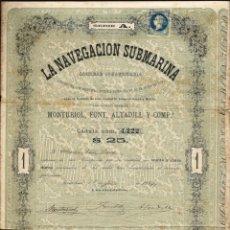 Collectionnisme Actions Espagne: LA NAVEGACIÓN SUBMARINA SOCIEDAD COMANDITARIA. AÑO1864. MONTURIOL. CÉDULA ORIGINAL DE LA ÉPOCA. Lote 176778108