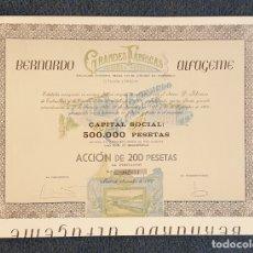 Coleccionismo Acciones Españolas: ACCIÓN CONSERVAS BERNARDO ALFAGEME . CANDAS. LITOGRAFÍA. GIJON.. Lote 177008138