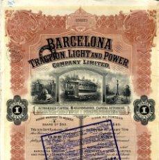 Coleccionismo Acciones Españolas: BARCELONA FERROCARRILES BONITO TITULO BARCELONA TRACTION LIGHT AND POWER 1930 . Lote 177087942