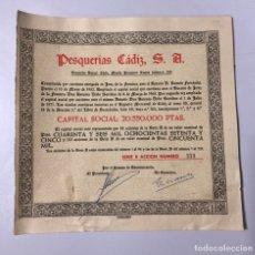 Coleccionismo Acciones Españolas: ACCION. PESQUERÍA CÁDIZ, S.A. AÑO 1962. MEDIDAS APROXIMADAS: 21.5 X 22 CM. Lote 177374439
