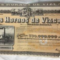 Coleccionismo Acciones Españolas: ACCION ALTOS HORNOS DE VIZCAYA 1954 - 41X19,5CM. Lote 177563867