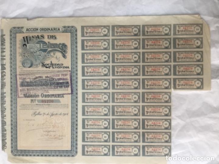 ACCION ORDINARIA DE MINAS DE TEVERGA - BILBAO 1904 - CON CUPONES - 37,5X26,5CM (Coleccionismo - Acciones Españolas)