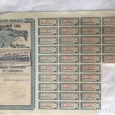 Coleccionismo Acciones Españolas: ACCION ORDINARIA DE MINAS DE TEVERGA - BILBAO 1904 - CON CUPONES - 37,5X26,5CM. Lote 177567938