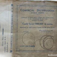 Coleccionismo Acciones Españolas: COMERCIAL DISTRIBUIDORA SOCIEDAD ANONIMA - PAREJA CORRELATIVA - 1944 - 34,5X27CM. Lote 177705658