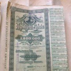Coleccionismo Acciones Españolas: ARGENTIFERA DE CORDOBA - CON CUPONES- BILBAO 1899 - 35X24. Lote 177709165