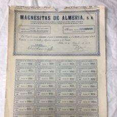 Coleccionismo Acciones Españolas: MAGNESITAS DE ALMERIA - 1922 BILBAO - #777 - CON TODOS LOS CUPONES - RARA - 41X29. Lote 177871979