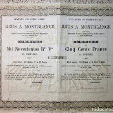 Coleccionismo Acciones Españolas: FERROCARRIL REUS A MONTBLANCH 1859. Lote 177947537