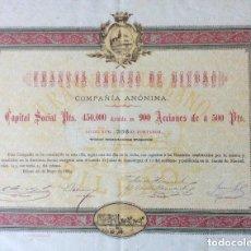 Coleccionismo Acciones Españolas: ACCIÓN DEL TRANVÍA URBANO DE BILBAO ORIGINAL 1884 Nº 306. Lote 178037607