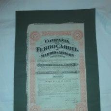 Coleccionismo Acciones Españolas: ACCIÓN OBLIGACIÓN HIPOTECARIA 500 PESETAS COMPAÑÍA DEL FERROCARRIL DE MADRID A ARAGÓN AÑO 1921. Lote 178347263